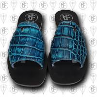 Sandalias azules cocdrilo frente