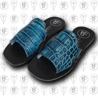 Sandalias azules cocdrilo lado