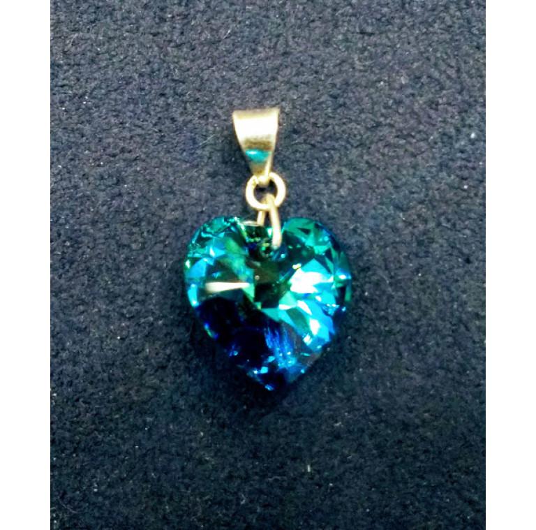 Dije plata cristal azul2