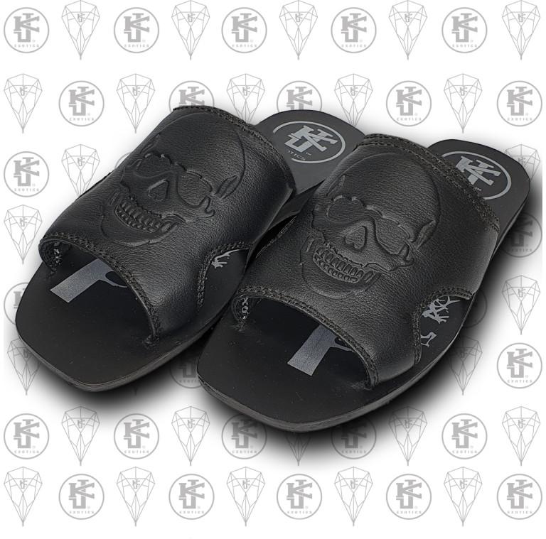 Sandalias negras calaca lado